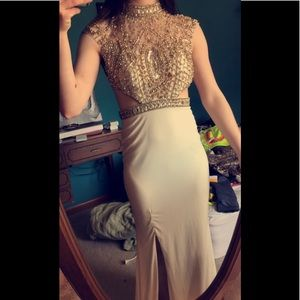 White and gold halter top prom dress